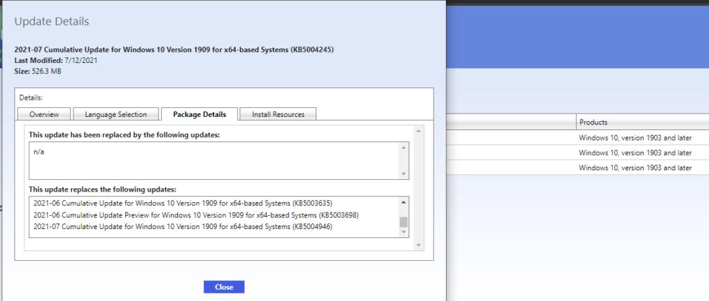 SCCM Patch Deployment issue with Windows 10  KB5004237 July Cumulative Update ConfigMgr