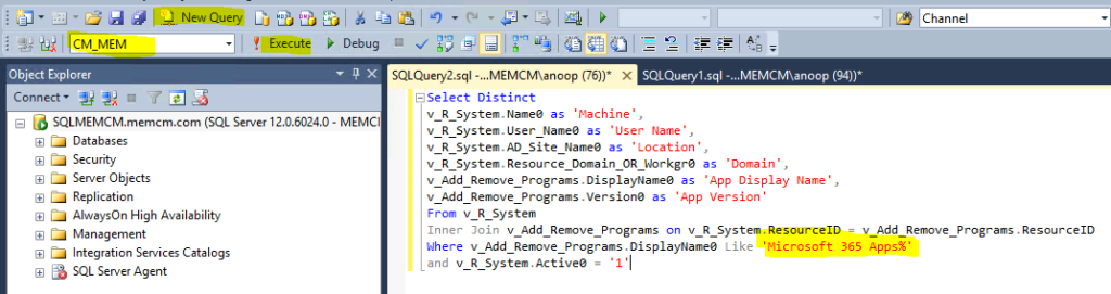 SQL Query to Find Microsoft 365 Apps Details from SCCM