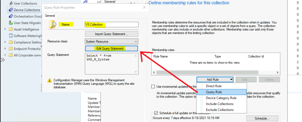 Create SCCM Device Collection for Visual Studio Upgrade