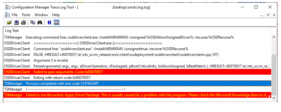 FIX: SCCM Task Sequence Failed to Apply Driver Package 0x80070057