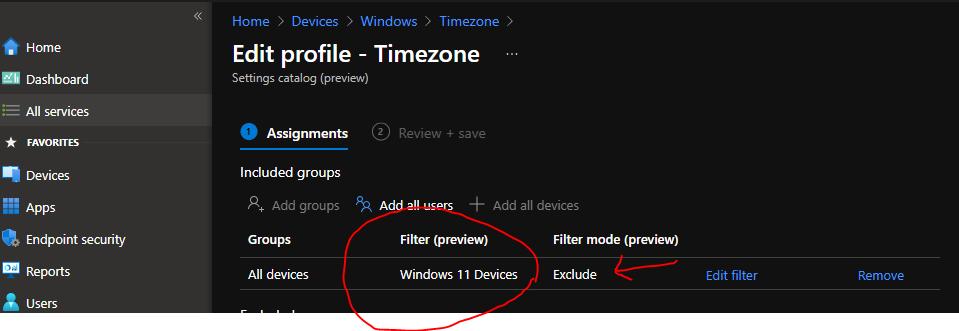 Create Windows 11 Filter Rule in Intune
