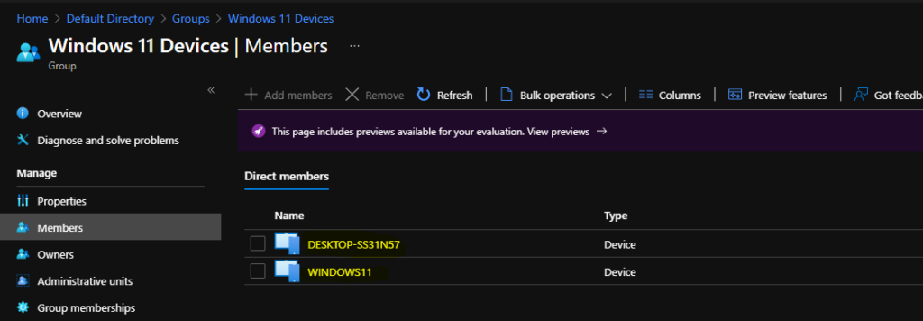 Create Windows 11 Azure AD Device Group 1