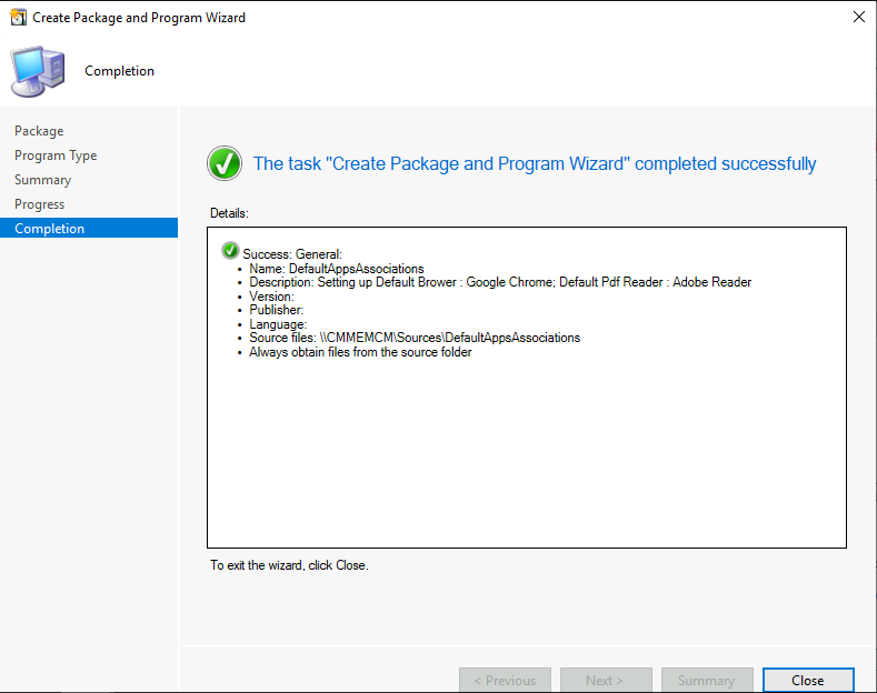 SCCM - The task Create Package and Program Wizard completed successfully
