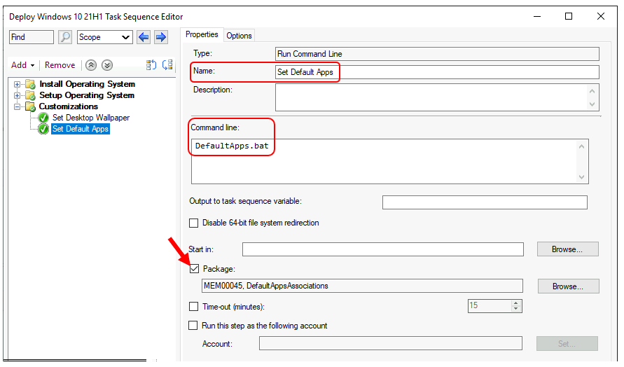 SCCM Task Sequence - Add Run Command Line Step