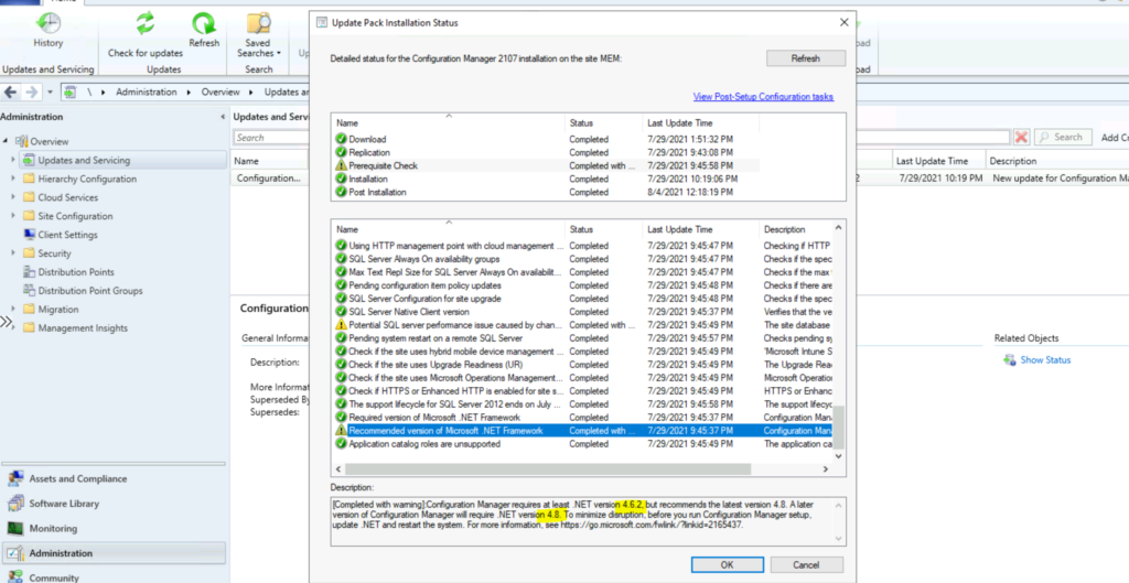 How to Fix SCCM 2107 Prerequisite Errors Warnings