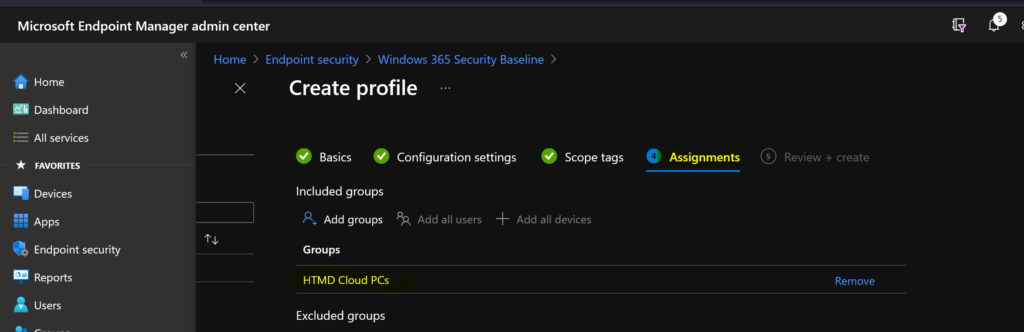 Deploy Windows 365 Security Baseline Policies to Cloud PCs