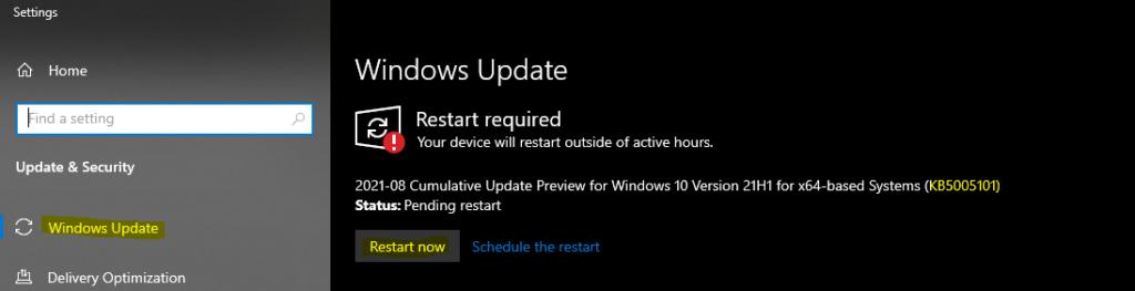 Windows 10 21H1 KB5005101 Cumulative Update