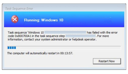 FIX: SCCM Task sequence has failed with the error code 0x800700A1
