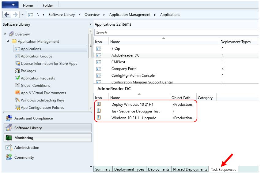Find SCCM Task Sequences Reference Application