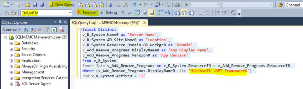SCCM Report for DotNet Framework Versions