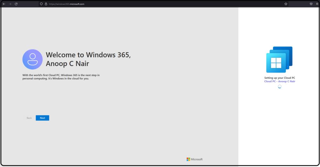 Windows 365 Cloud PC Web Client End User Experience Walkthrough 3