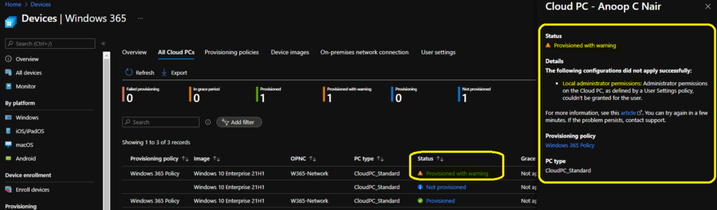 Cloud PC Provisioned with Warning Status