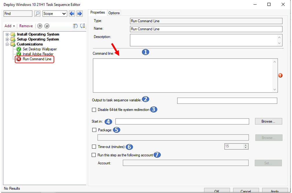 Add Run Command Line Step to SCCM Task Sequence