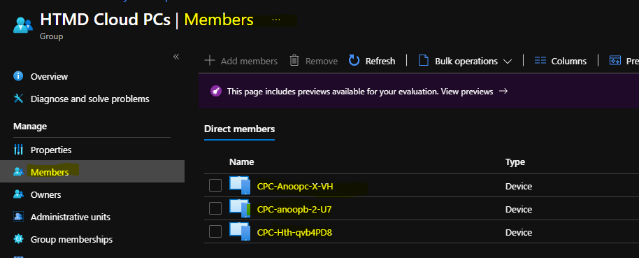 Create Cloud PC Azure AD Dynamic Device Group Options Concerns