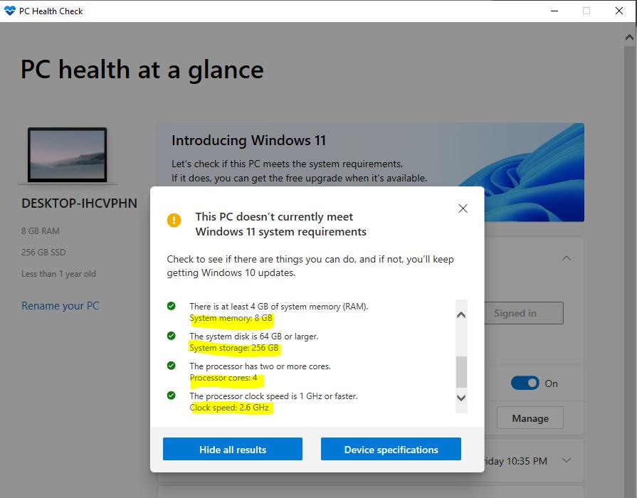 Windows 11 Upgrade PC Health Check App Updates