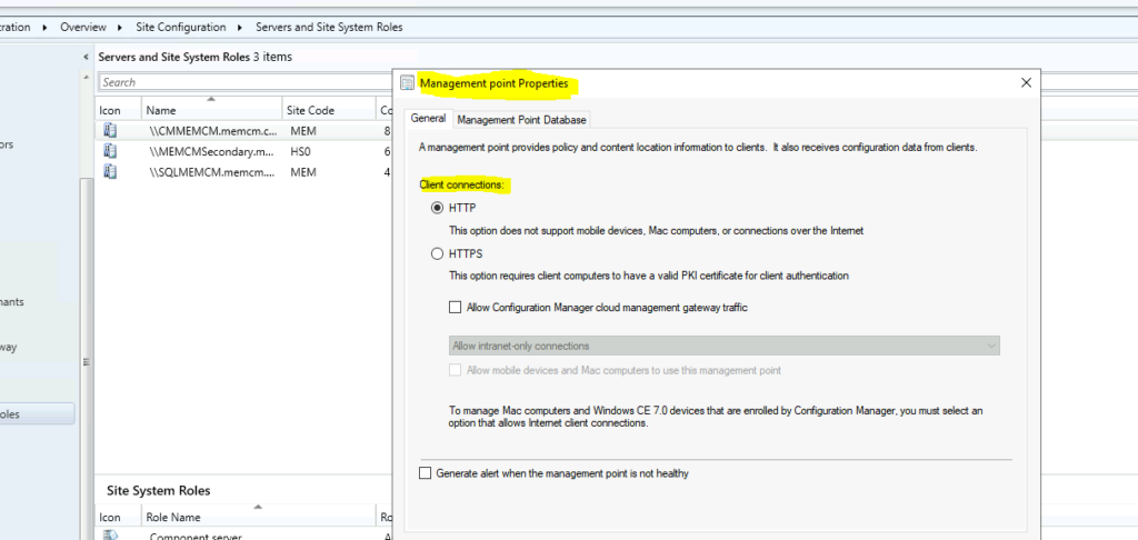 SCCM Upgrade resulting in MP issue