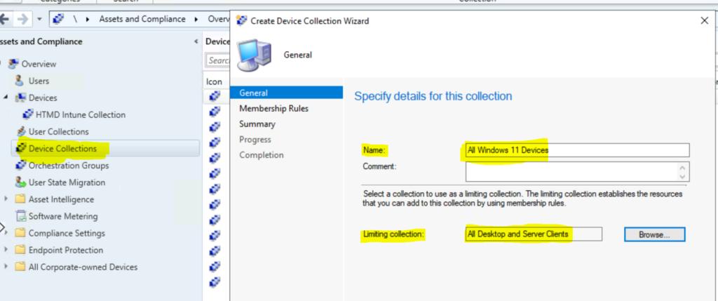 Create Windows 11 SCCM Device Collection Process ConfigMgr