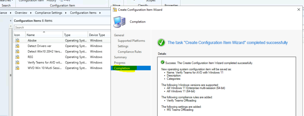 Verify Teams for AVD using SCCM Configuration Item with Windows 11 Operating System