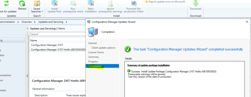 KB10503003 Hotfix Released for SCCM 2107 Early Ring
