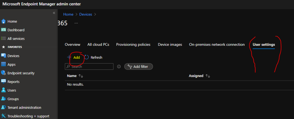 Provide Admin Access to Windows 365 Cloud PC using User Settings Policy