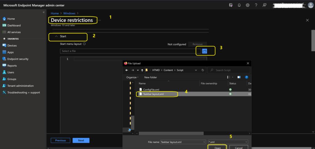 Deploy Start Menu Taskbar Custom Layout Settings using Intune Cloud PC