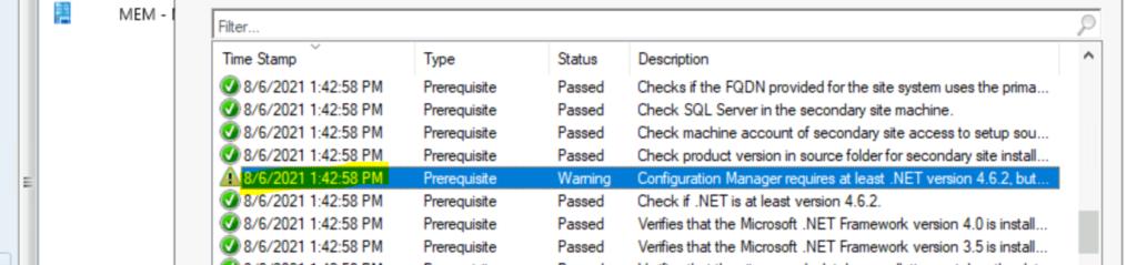 SCCM Secondary Server Upgrade to 2107 Version 1