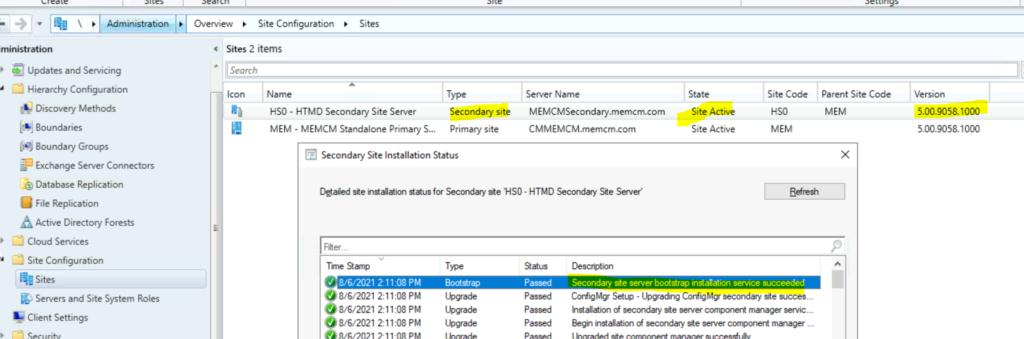 SCCM Secondary Server Upgrade to 2107 Version