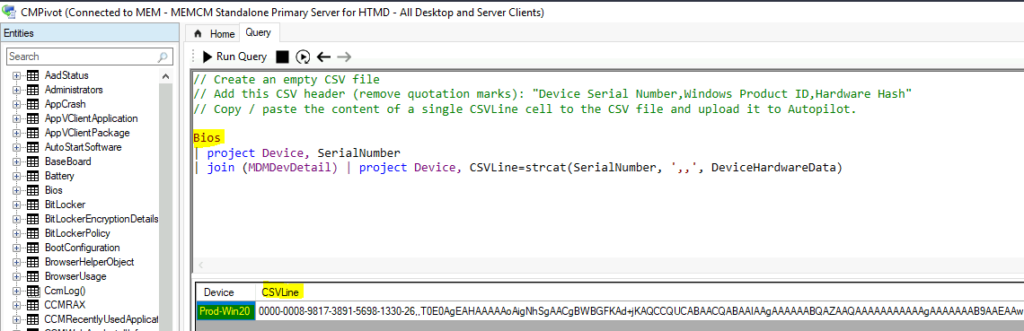 Collect Hardware Hash from SCCM for Autopilot