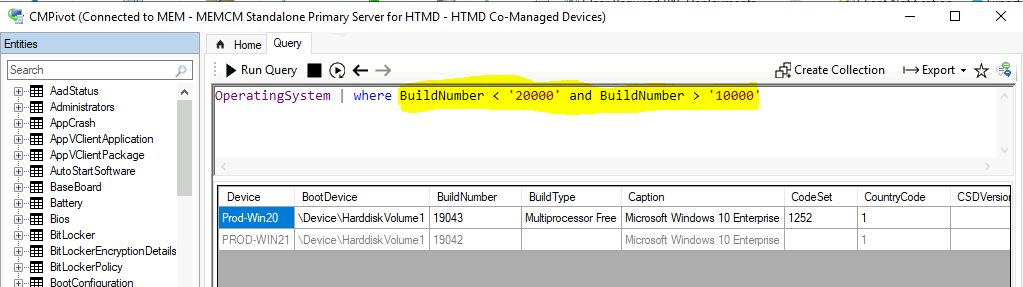 CMPivot Query to Find Windows 10 Devices from SCCM