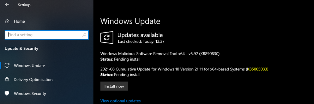 Windows 10 KB5005033 August Patching Issue with SCCM