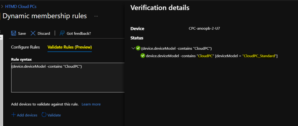 Create Cloud PC Azure AD Dynamic Device Group 1