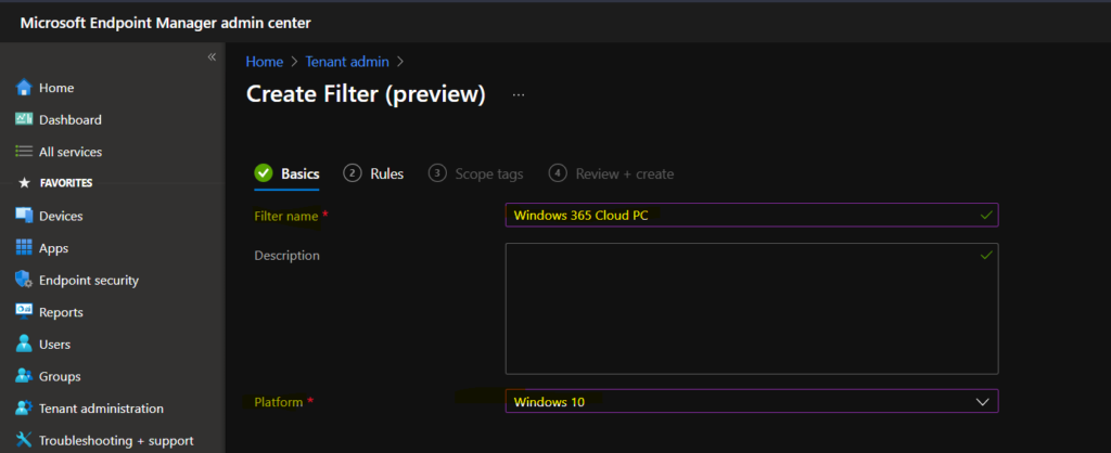 Create a Filter Rule for Windows 365 Cloud PCs using Intune