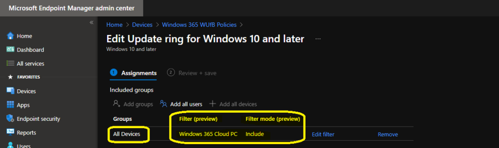 Cloud PC Patching Process using Intune WUfB Policies