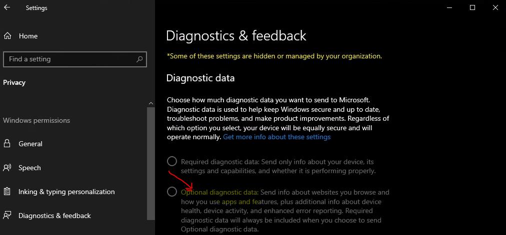 Optional diagnostic data settings