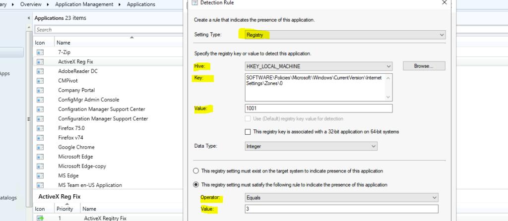 SCCM Deployment of Registry File Detection Rule