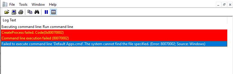 SCCM Task Sequence Run Command line Create Process Failed.Code 0X80070002
