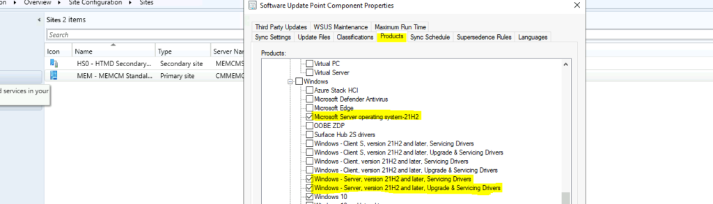 Product Categories for Windows server 2022 / Microsoft Server 21H2 patching