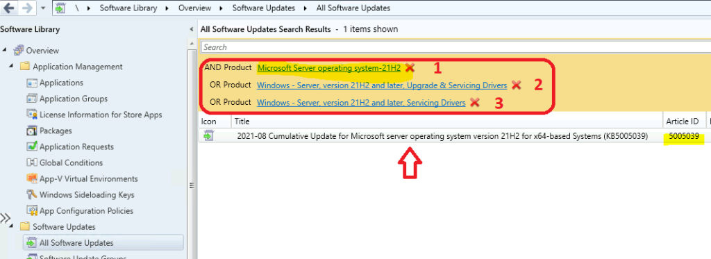 Product Filter for Microsoft server operating system 21H2