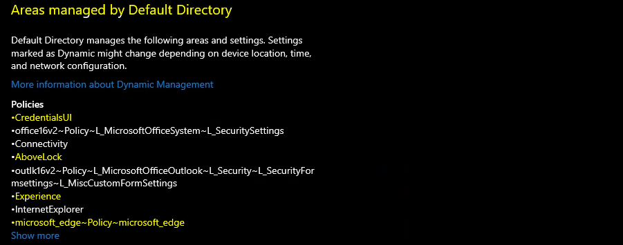 Managed by Default Directory - Intune Areas Managed Policies