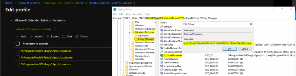 Troubleshoot Microsoft Defender Exclude Processes Issue
