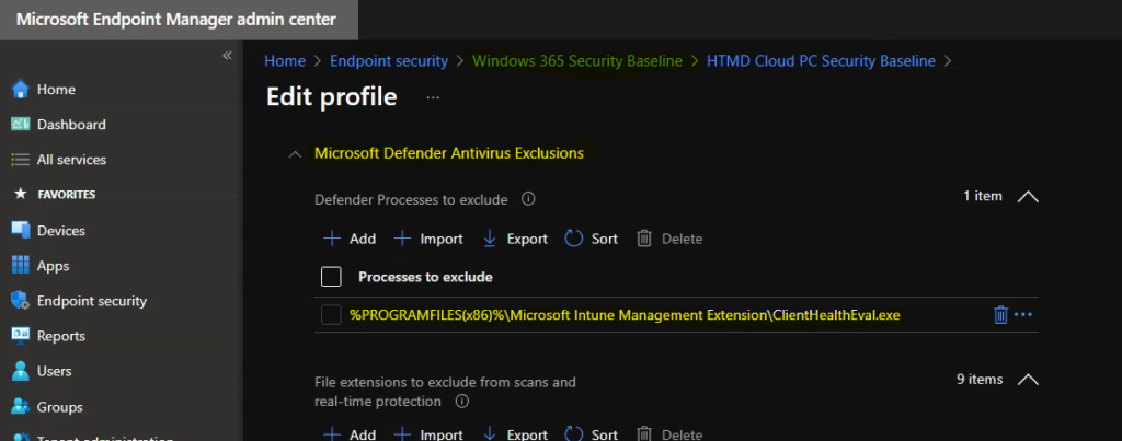Fix Microsoft Defender Exclude Processes Issue using Intune Security Baseline