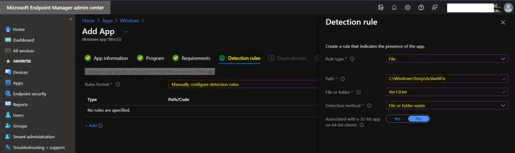 Create Intune Win32 app for Registry Fix