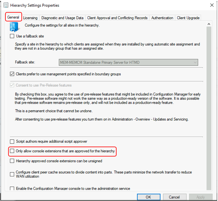 SCCM Console - Hierarchy Settings Properties