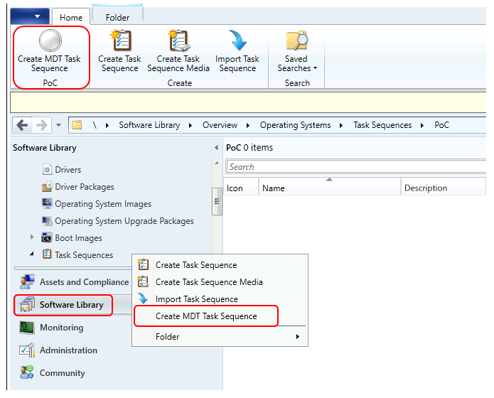 Software Library > Task Sequences > Create MDT Task Sequence
