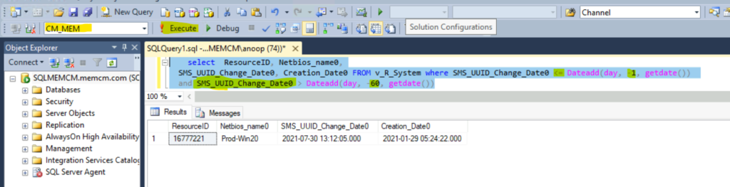 SQL query to find out SCCM clients registered in last 60 day
