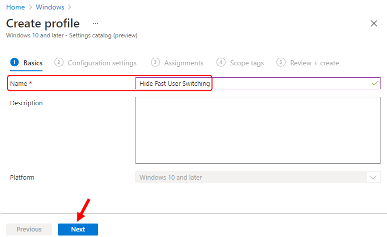 Settings Catalog - Disable Fast User Switching using Intune