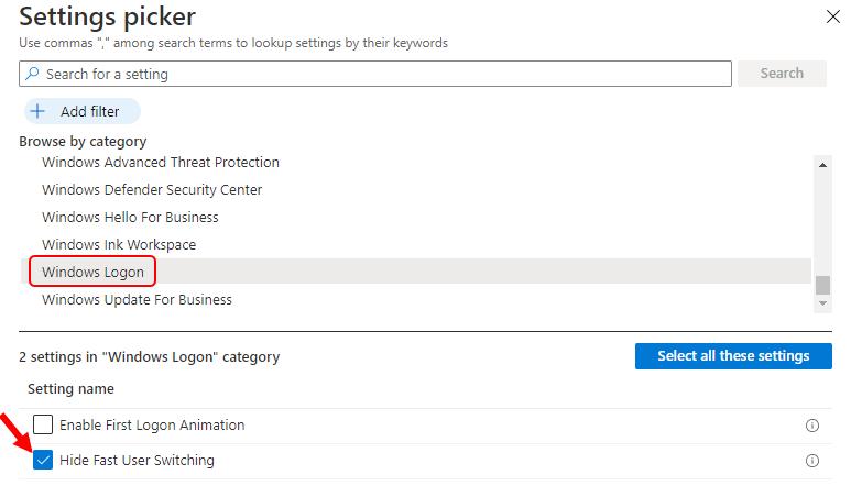 Settings Picker - Windows Logon   Hide Fast User Switching