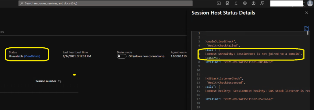 Azure AD Joined SessionHost unhealthy