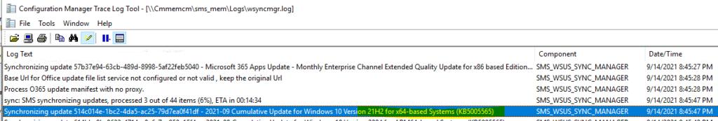SCCM Deployment of Windows 10 KB5005565 and KB5005566
