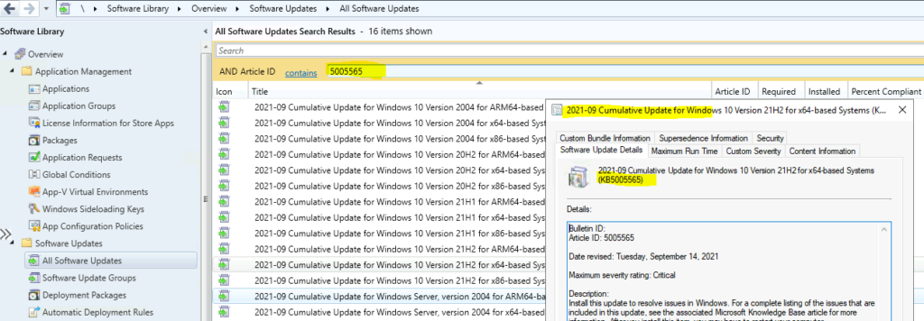 How to Deploy KB5005565 Using SCCM